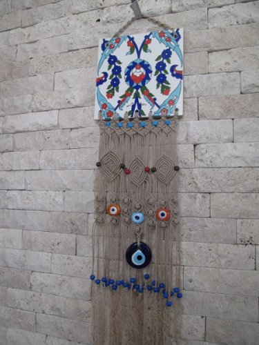 Macrame evil eye wall hanging .OOAK