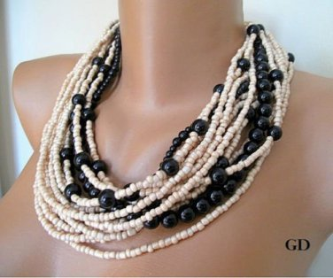 Bold Bridal Wedding, Handmade,  layered black pearl necklace, beige seed beads
