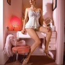 2PC. MESH W/ JEWELLED EMBROIDERY BABYDOLL AND G-STRING