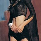2PC. SPIDERWEB LACE CROP TOP W/BELL SLEEVES AND HOT SHORTS