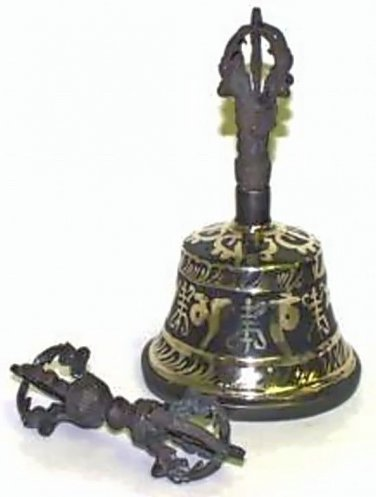 "Painted Bell & Djore Set / 6"" - Black & Gold (Made in Nepal)"