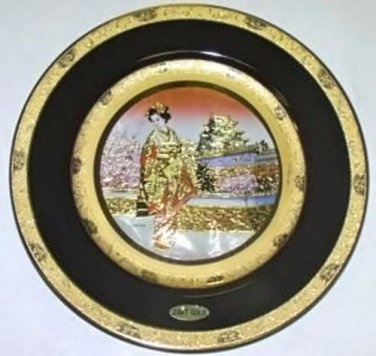 """Geisha in front of Golden Palace / 10"""" Gift Plate (24K Gold)"""