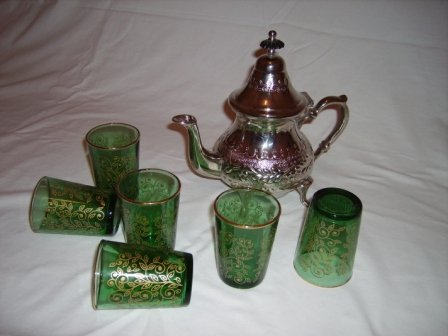 Moroccan chromed copper teapot & glasses set