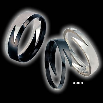 Two part Puzzle ring Black and Silver (RSCP-3)