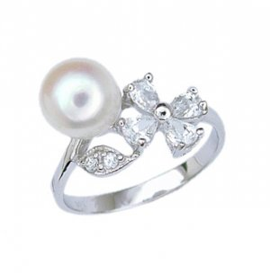 Flower With Pearl and CZ (231077)