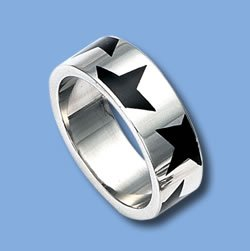 Stainless Steel Ring with Black Stars (RSSE-11)