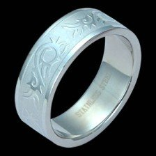 Stainless Steel Band with Tribal Design (SSRE-5)