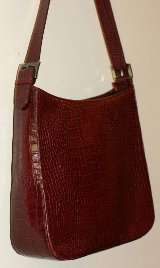 Croco-Embossed Merlot Red Leather Purse - Made in Italy