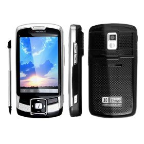 """Black """"Nautilus"""" 3 inch bluetooth Mobilephone Touch Screen TFT 1.3 Mega Camera Quad Band Cell Phone"""