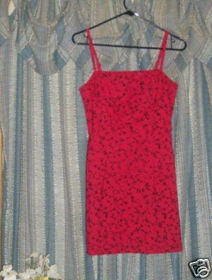 Vintage 70s Red LA BELLE MINI COCKTAIL FORMAL DRESS sz 3