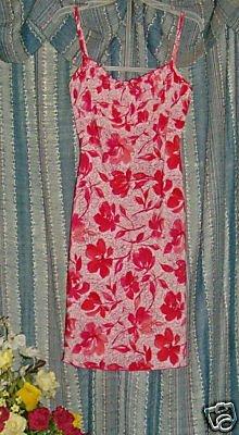 Vintage 70s Red Pink jonathan martin gathered bust sz 3
