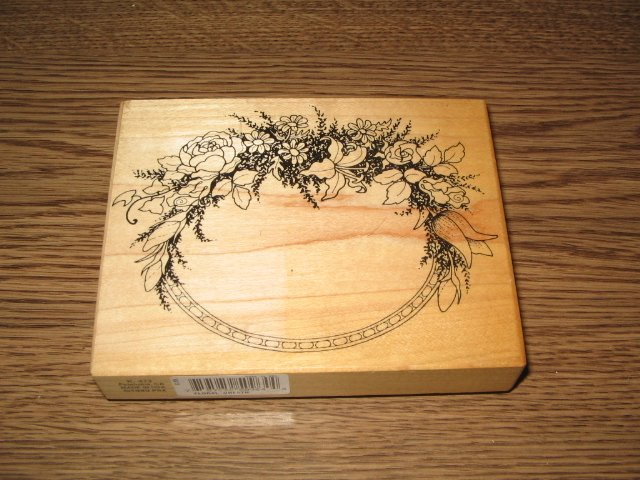 PSX Flower Frame Wood Mounted Rubber Stamp K-413 Floral Retired Collectible