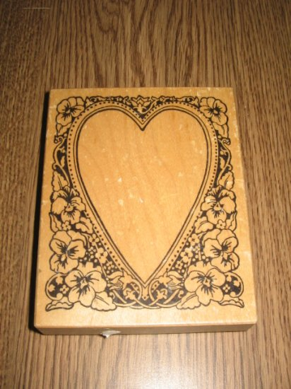 PSX Pansy Heart Frame Wood Mounted Rubber Stamp K-894 Retired Collectible