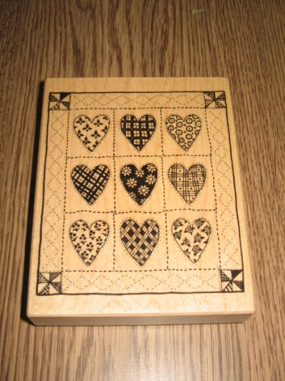PSX Heart Quilt Wood Mounted Rubber Stamp K-1414 Retired Collectible