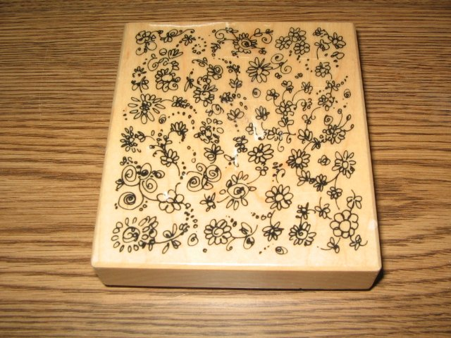 PSX Flower Background Wood Mounted Rubber Stamp K-3178 Retired Collectible