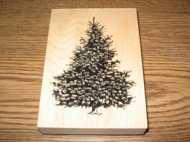 PSX Christmas Pine Tree Wood Mounted Rubber Stamp K-1453 Retired Collectible