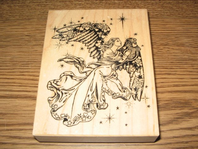 PSX Golden Angel Wood Mounted Rubber Stamp K-1332 Retired Collectible