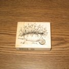 PSX Poppy Wheelbarrow Wood Mounted Rubber Stamp G-3401 Retired Collectible