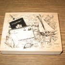 PSX Tavel Montage Wood Mounted Rubber Stamp K-3116 Retired Collectible