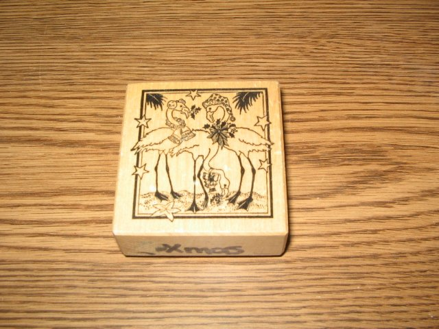 PSX Christmas Flamingos On A Beach Wood Mounted Rubber Stamp F-369 Retired Collectible