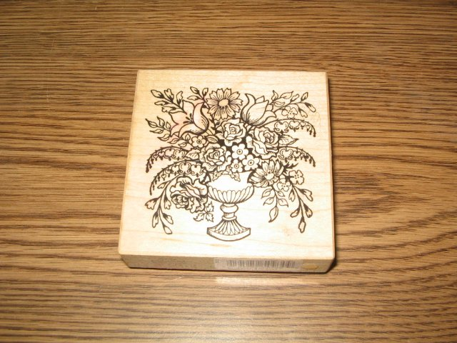 PSX Pedestal Flower Bouquet Wood Mounted Rubber Stamp G-734 Retired Collectible