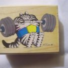Kliban Cat It Ain't Heavy Wood Mounted Rubber Stamp by Rubber Stampede