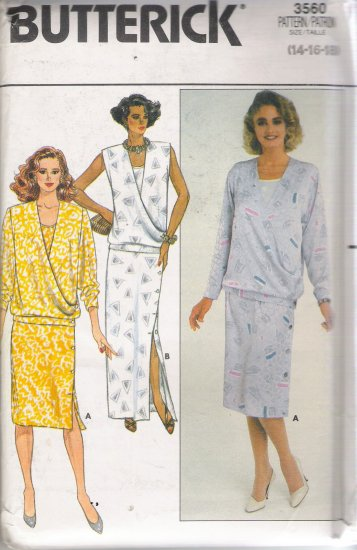 Misses' Tank Tops & Straight Skirt Sewing Pattern Size 14-18 Butterick 3560 UNCUT