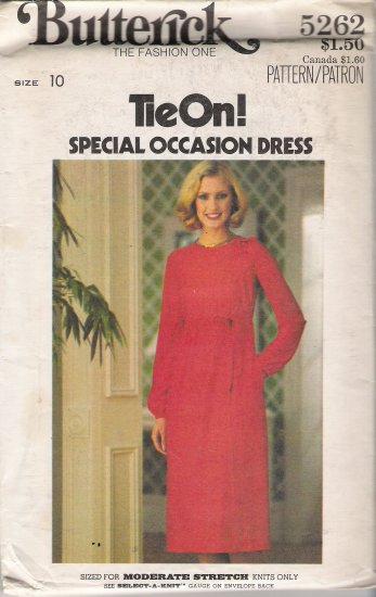 Vintage Sewing Pattern Misses' Tie On Wrap Style Dress Size 10 Butterick 5262 UNCUT