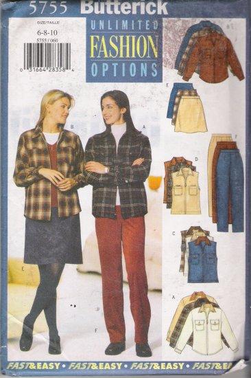 Misses' Shirt Vest Skirt Pants Sewing Pattern Size 6-10 Butterick 5755 UNCUT