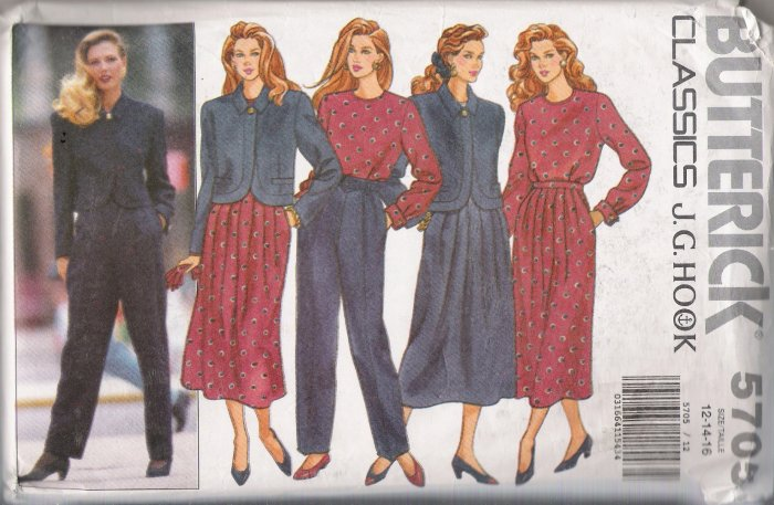 Misses' Jacket Top Skirt Pants J G Hook Sewing Pattern Size 12-16 Butterick 5705 UNCUT
