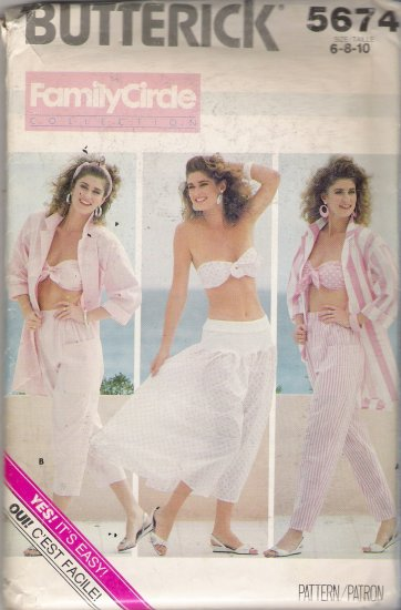 Misses' Shirt Bra Pants Skirt Sewing Pattern Size 6-10 Butterick 5674 UNCUT
