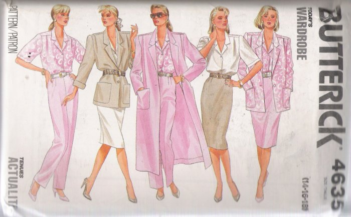 Misses' Coat Jacket Skirt Pants Shirt Sewing Pattern Size 14-18 Butterick 4635 UNCUT