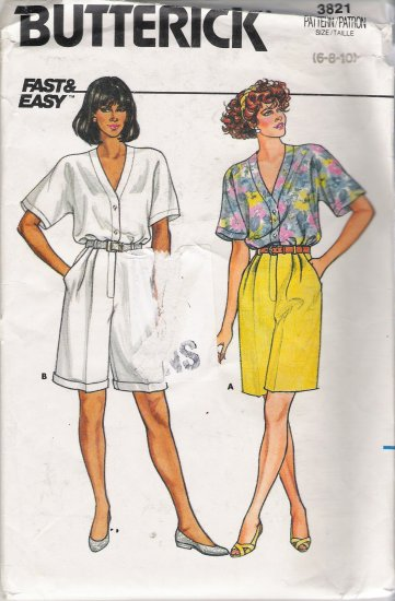 Misses' Top & Shorts Sewing Pattern Size 6-10 Butterick 3821 UNCUT