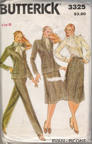 Misses' Jacket Blouse Skirt Pants Evan Picone Sewing Pattern Size 8 Butterick 3325 UNCUT
