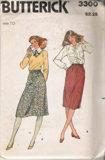 Vintage Sewing Pattern Misses' Straight & A-Line Skirts Size 10 Butterick 3300 UNCUT