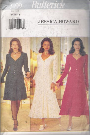 Misses' Dress Jessica Howard Sewing Pattern Size 14-18 Butterick 3199 UNCUT