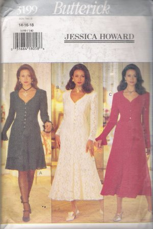Misses' Dress Jessica Howard Sewing Pattern Size 14-18 Butterick 3199 UNCUT
