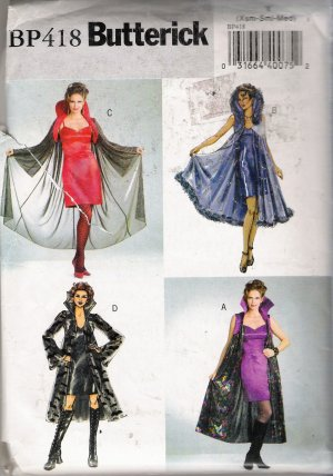 Misses' Halloween Costumes Sewing Pattern Size XS-M Butterick 418 UNCUT
