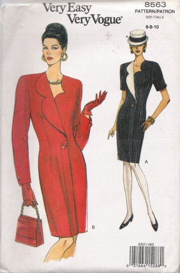 Misses' Semi-Fitted Dress Sewing Pattern Size 6-10 Vogue 8563 UNCUT