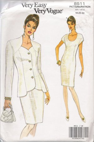 Misses' Jacket & Dress Sewing Pattern Size 18-22 Vogue 8511 UNCUT