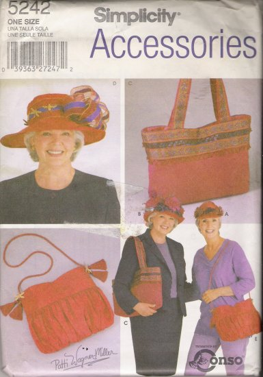 Misses' Red Hats & Bags Sewing Pattern Size S-L Simplicity 5242 UNCUT