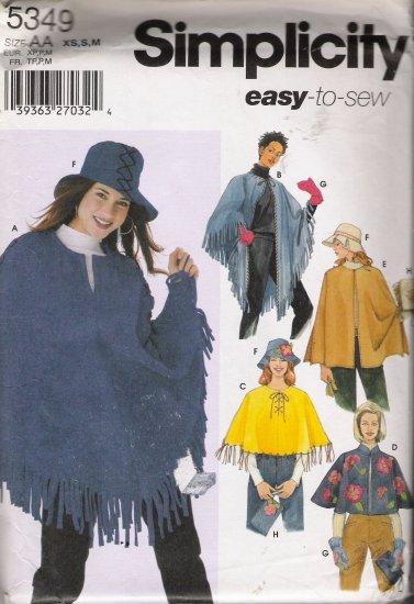 Misses' Ponchos Purse Hat Mittens Sewing Pattern Size XS, S, M Simplicity 5349 UNCUT