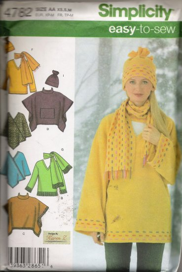 Misses' Top Ponchos Scarf Hat Fleece Sewing Pattern Size XS, S, M Simplicity 4782 UNCUT