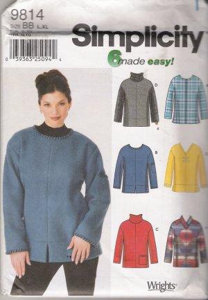 Misses' Fleece Tops Plus Size Sewing Pattern Size L, XL Simplicity 9814 UNCUT