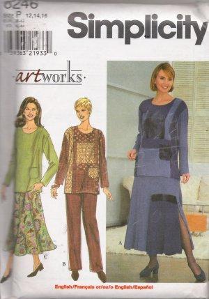 Misses' Top Skirt Pants Sewing Pattern Size 12-16 Simplicity 8246 UNCUT