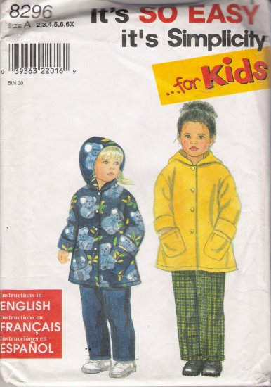 Child's Jacket & Pants Sewing Pattern Size 2-6x Simplicity 8296 UNCUT