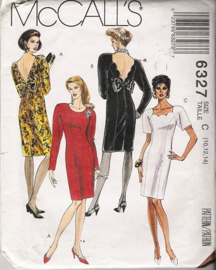 Misses' Semi-Fitted Dresses Sewing Pattern Size 10-14 McCall's 6327 UNCUT