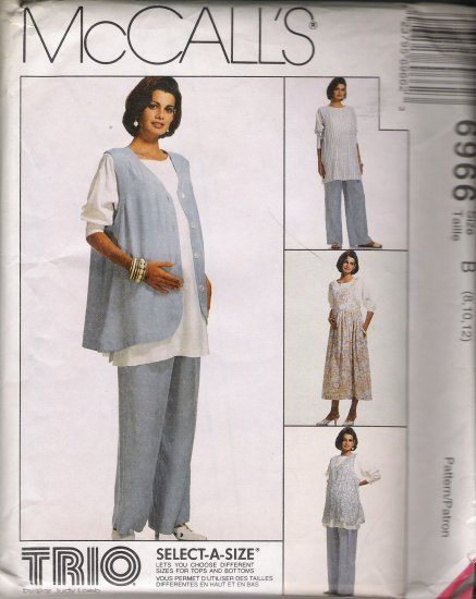 Maternity Jumper Top Vest Pants Sewing Pattern Size 8-12 McCall's 6966 UNCUT