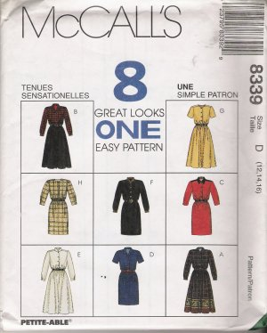 Misses' Dress In Two Lengths Sewing Pattern Size 12-16 McCall's 8339 UNCUT
