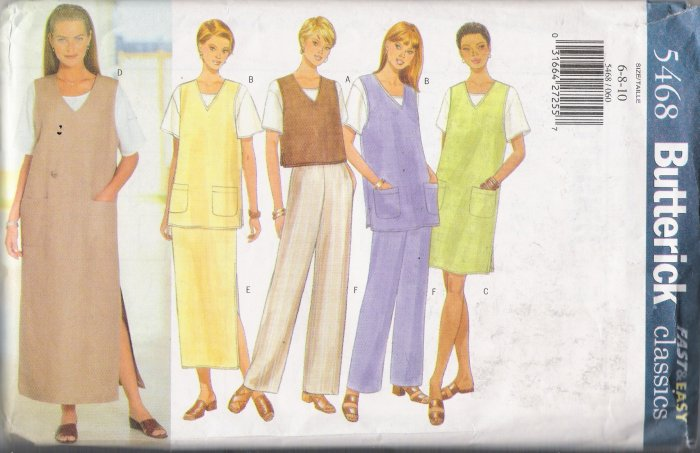 Misses' Vest Jumper Tunic Top Skirt Pants Sewing Pattern Size 6-10 Butterick 5468 UNCUT